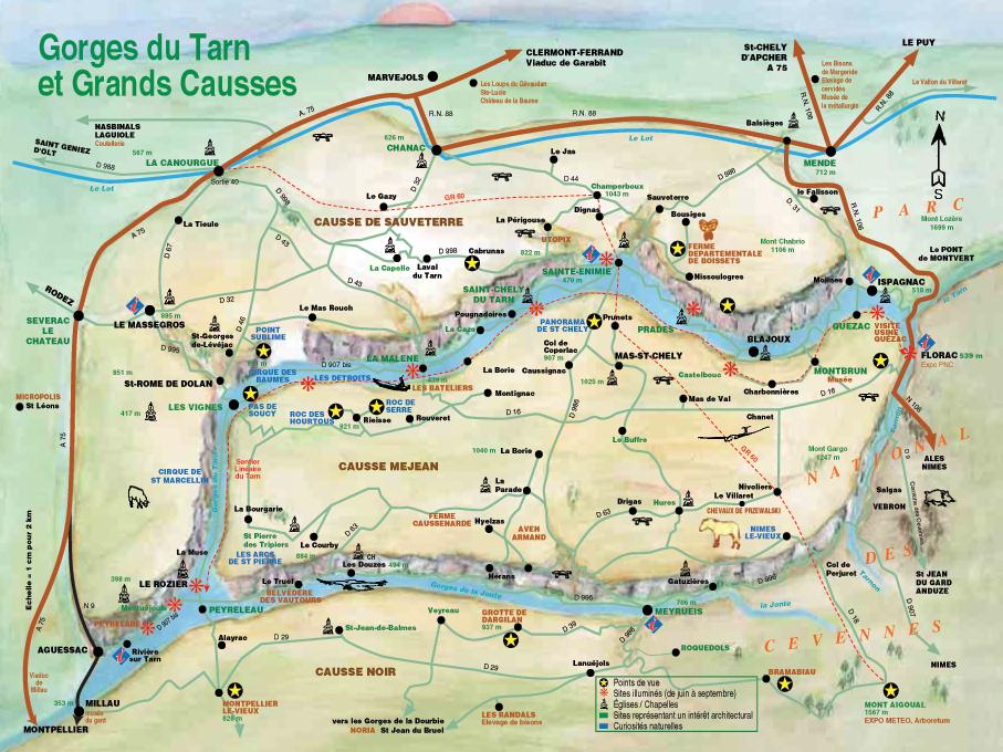 les gorges du tarn carte Gorges du Tarn : Carte   Télécharger la carte des Gorges du Tarn